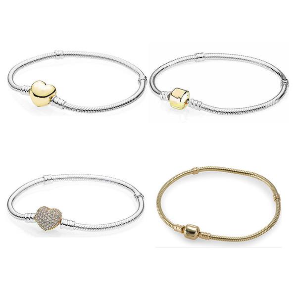 Gold Color Pave Love Heart Moment Barrel Clasp Bracelet Bangle Fit Snake Bracelet 925 Sterling Silver Bead Charm Jewelry