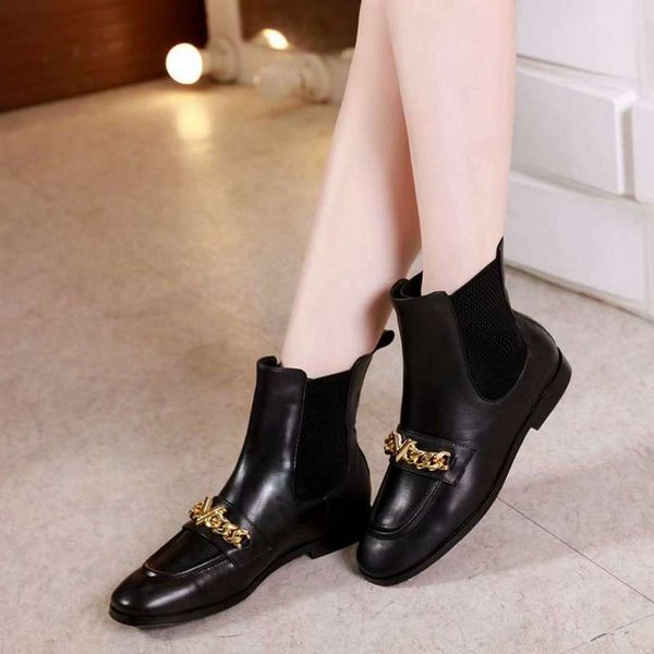 Luxurious Louise Womens Ankle With Chains Short Knight Martin Boots Shoes Real Leather Footwear Size 35-40