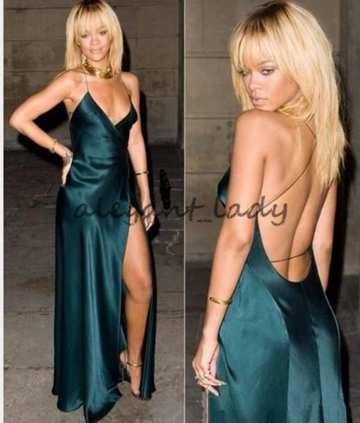 Sexy Backless dark hunter Green 2018 Evening Dresses Spaghetti Straps Cut Out Prom Dresses Gowns Custom Made Rihanna Celebrity Dresses