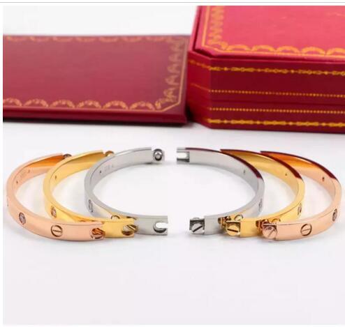 HOT Titanium Steel Amour Bracelets en argent rose or Bracelets Femmes Hommes Vis Tournevis Bracelet Couple Bijoux avec logo SAC À POUSSIÈRE