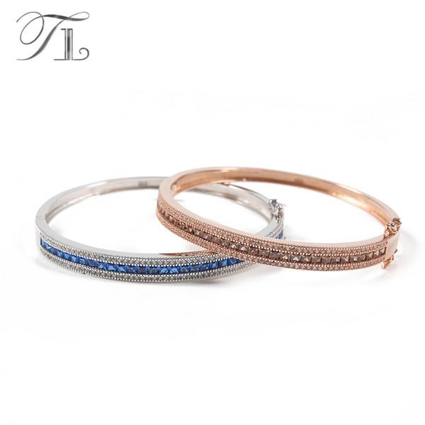 TL 925 Sterling-Silver-Jewelry Thin Bangles Best Bracelets For Women Love Gifts Austria Zircon Bangles Noble Silver 925 Jewelry
