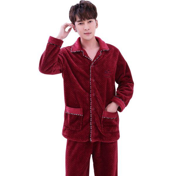 Casual hommes vêtements de nuit 2 PCS ShirtPants hiver chaud épaissir pyjamas de flanelle ensemble confortable mâle nuit vêtements porter des pyjamas costume