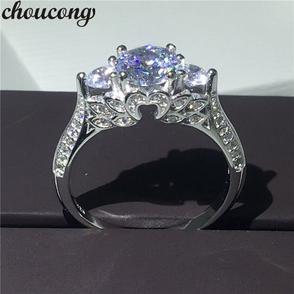 choucong Luxury Jewelry Three-stone Diamonique zircon 925 sterling silver Engagement Wedding Band Ring For Women Gift Size 5-10