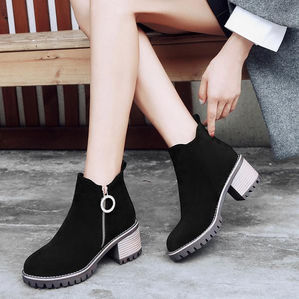 YMECHIC Exército Verde Preto Das Mulheres Botas Ankle Flock Block Calcanhar Sapatos Plus Size Zipper Design de Metal Senhoras de Inverno Botas de Salto Alto