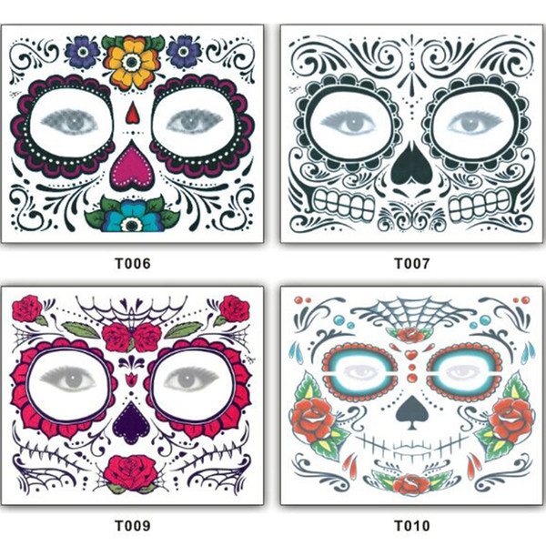 Christmas Toy Halloween Party Facial day of the dead faced tattoo masquerade ball must, pretty tattoo sticker waterproof fast shipping