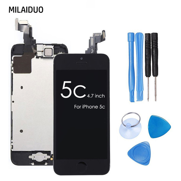 For iPhone 5c LCD Display Touch Screen Digitizer Full Assembly+Home Button+Front Camera+Ear Speaker+Tools Gifts Complete Replacement