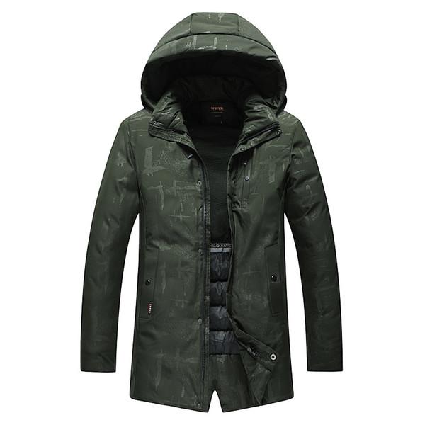 Down Parka Hombres Abrigos largos abajo Chaqueta de invierno Espesar Tops calientes Con capucha Outwear Marca de ropa Casual 2018 de alta calidad