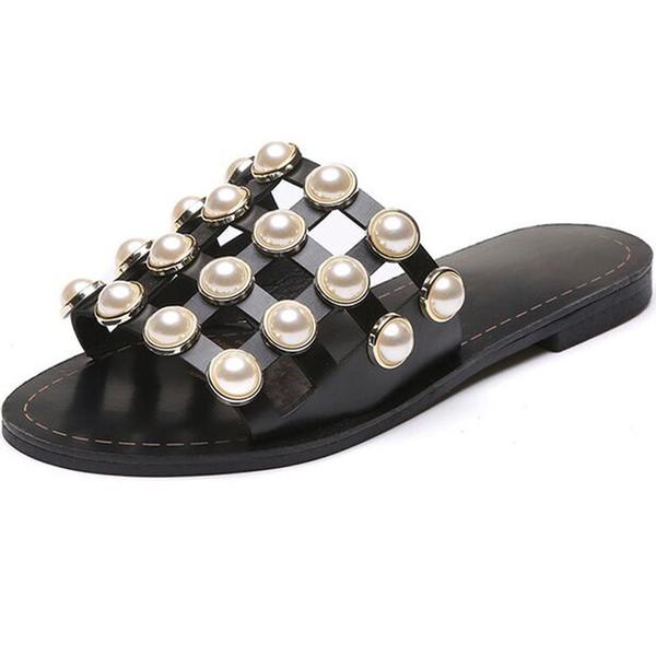 Han Edition Rétro Perle Fond Moitié Nice Nouvel Été Cool Pantoufles Femme Évider Respirant Maille Chaussures Pantoufles Femmes