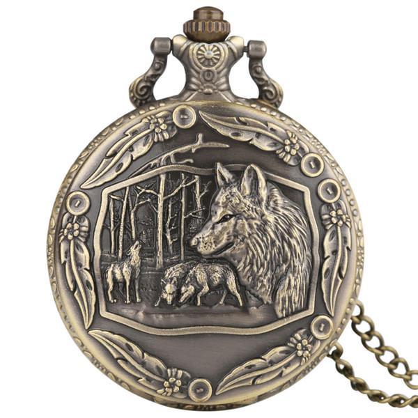 Klassische Weinlese-kühle Wolf-Muster-Quarz-Taschen-Uhr mit Feder um Fall volle Jäger-minimalistische Männer Frauen-hängende Geschenk-Halskette