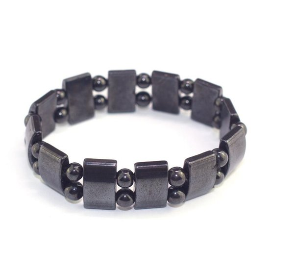 Natural Black stone Magnetic therapy Beads Hologram Bracelet for Men small cube Pendant Charms Bracelet Male Jewelry Accessorie