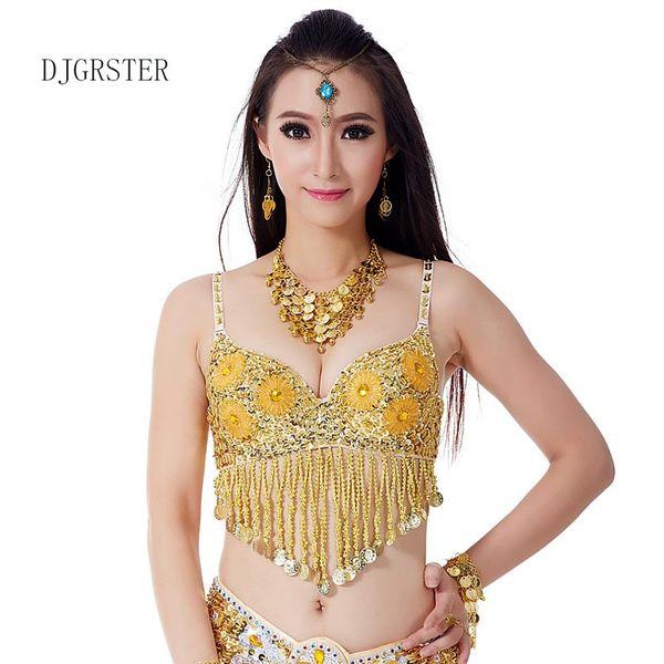 DJGRSTER Women Stage & Dance Wear 2018 Oriental Dance Sequined Tassels Beaded Bra Bellydance Top 1 pcs Costumes for Belly