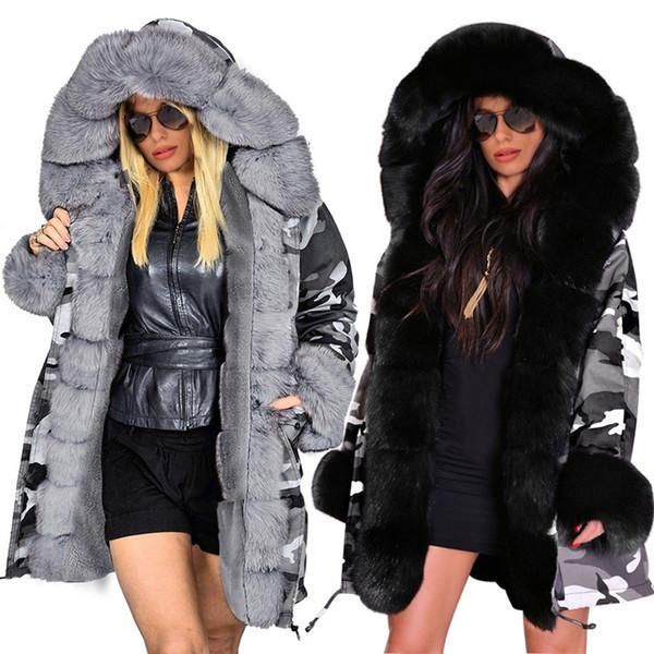 2018 Automne Hiver Mode Slim Femme Keep Warm Manteau Long manteau camouflage imprimé col de fourrure à capuche en coton