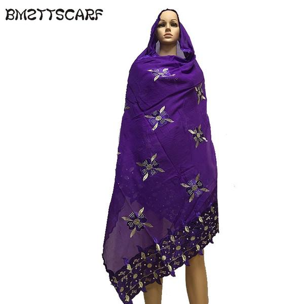 2018 nouvelles femmes africaines grandes broderies écharpes coton doux petite conception de fleurs écharpe de coton de grande taille pour châles Wraps BM656