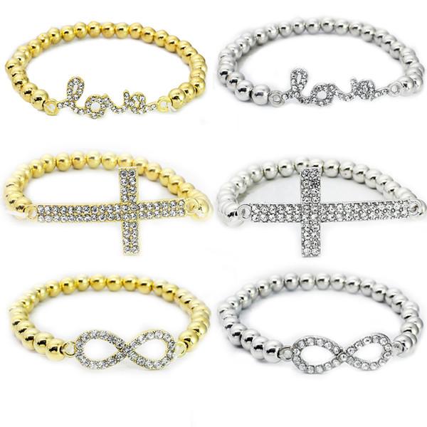 Free DHL 6 Style New CCB Charm Bracelets Cross 8 Rhinestone Fashion Gold/Silver Jewelry Elastic Bracelets Stretch Bracelet G376S