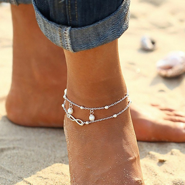 Pearls Barefoot Beach Sandals For Weddings Double Starfish Anklets Chain for Beach Wedding Party Bridal Bridesmaid Foot Jewelry In Stock