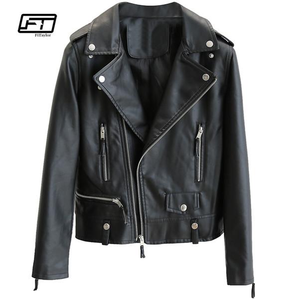 Fitaylor PU Leather Jacket Women Punk Zipper Faux Leather Jacket Autumn Winter Basic Coat