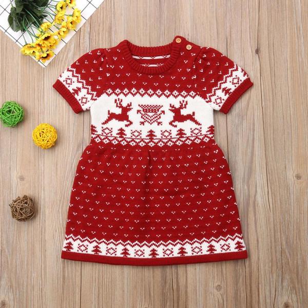 Acheter Noël Nouveau Né Enfants Bébé Filles Laine à Tricoter Pull Partie Robe Tutu Vêtements De 2027 Du Newestable Dhgatecom