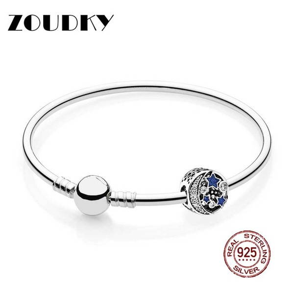 ZOUDKY 925 Sterling silver Vintage Night Sky Bangle Gift Set Clear CZ fit DIY Original charm Bracelets jewelry A set of prices