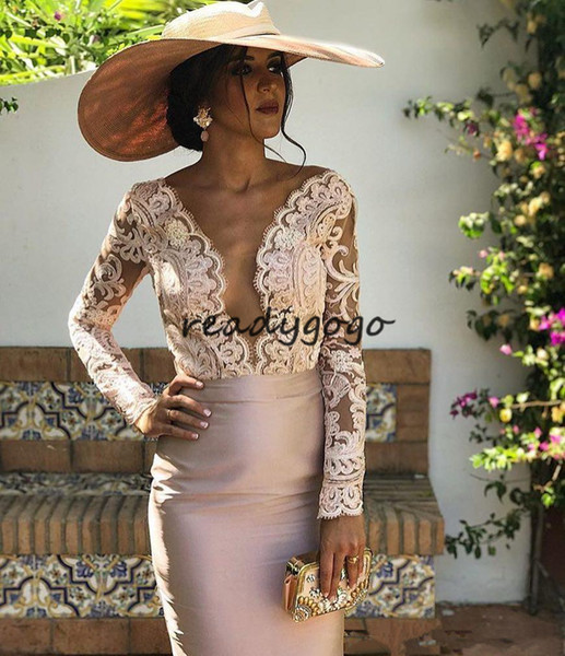 Pink Champagne Mother Of the Bride Groom Dresses with Long Sleeve 2018 Lace Stain Knee-length Women Occasion Prom Formal Dress