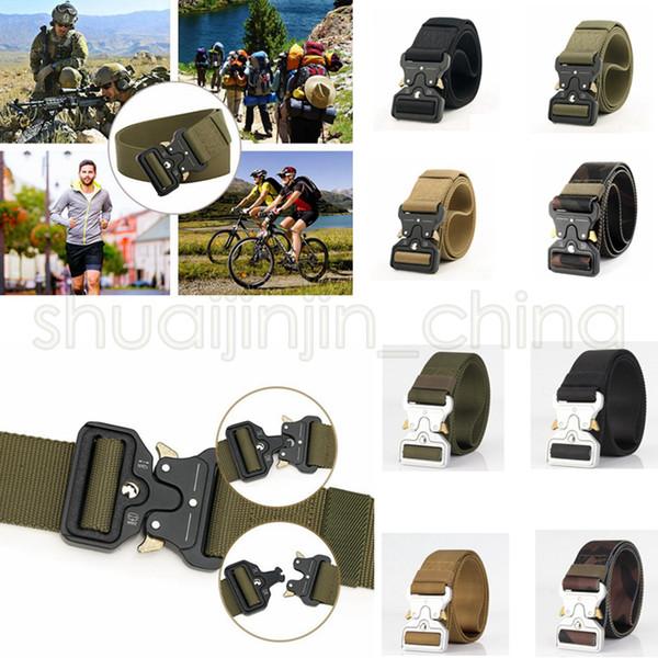 8 colors Quick Release Buckle Belt Quick Dry Safety Belt Training Pure Nylon Duty Out Tactical Belt GGA494 20PCS