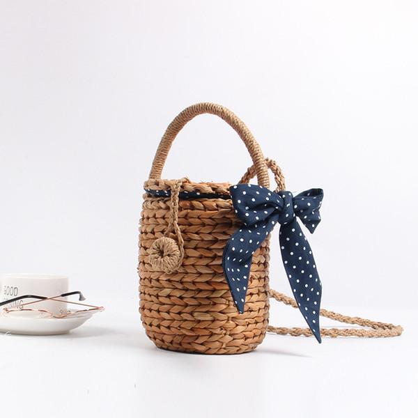 2018 Handmade Cute Bucket Bag Straw Bag Holiday Beach Handbag Triangle Towel Braided Crossbody Bags for Girls Bohemian Hot Sales