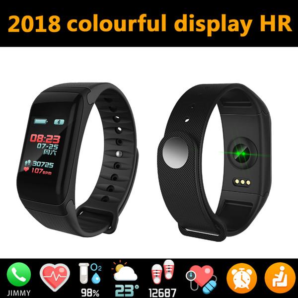 Su geçirmez Spor Izci Bilezik Ile Renkli Ekran Ekran Spor Bilek Bandı F601 Akıllı Saatler Kalp Hızı Kan Basıncı Ile Kutusu