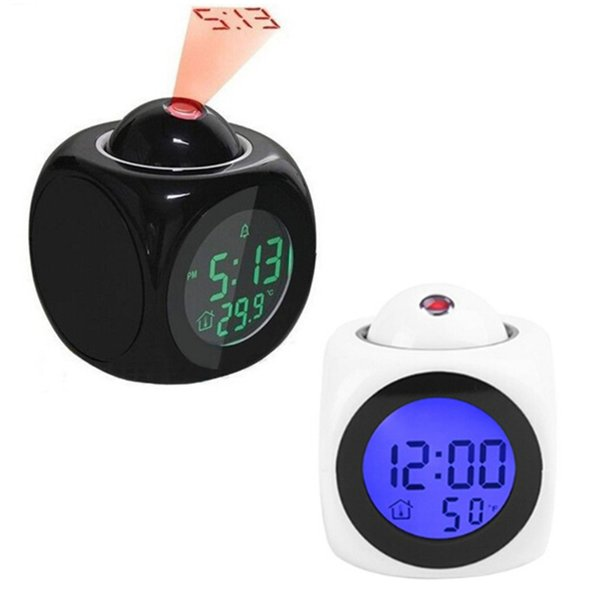 Urijk Digital Projection Alarm Clock Voice report Projector Clock Weather Station thermometer Wake Up Projector LED Clock