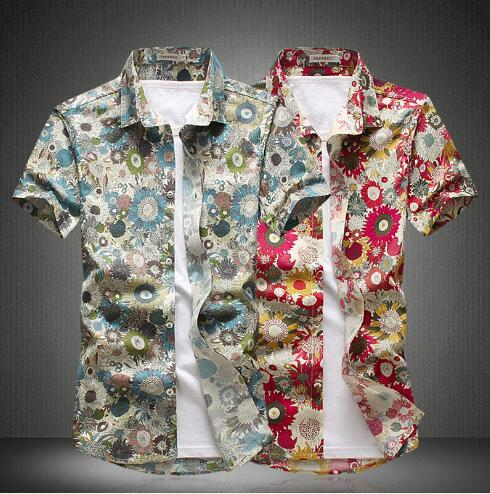 Großhandel - 2018 Mode Baumwolle Blumenmuster Hemden Männer Floral Shirts Kurzarm Slim Dress Shirt Herren Camisa Masculina Plus Größe M-5XL