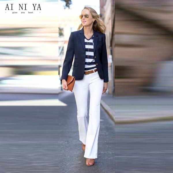 newest 98c0a f048e Acquista Giacca Blu Scuro Pantaloni Donna Abiti Da Lavoro Donna Uniforme Da  Ufficio Femminile Elegante 2 Pezzi Completa Blazer Donna Inverno Abiti ...
