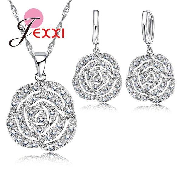 JEXXI Elegant Romance Woman Favorite Rose Pendant Necklace Earrings Fashion Clear Zircon Rhinestone Sterling Silver Jewelry Set