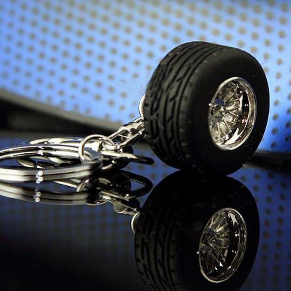 1 pcs Rubber Metal Keychain Wheel Tyre Tire Key Chain Ring Keyring Keyfob Car Styling Accessories