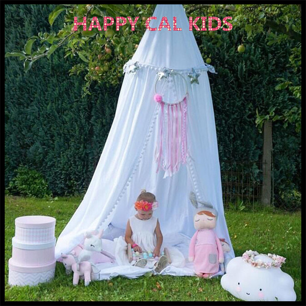 100% Cotton Kids Play Room Decor Teepee Princess Bed Canopy Bedcover Mosquito Net Tent 3 Colors