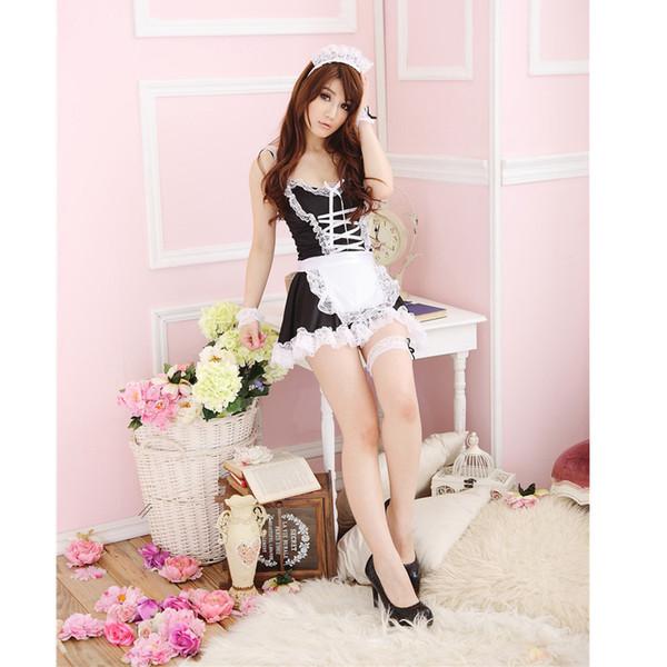 Hot Sexy Lady Dessous Baby Puppen Schwarz Weiß Schürze Maid Diener Lolita Kostüm Kleid Frauen Uniform Exotisches Kleid LB S923