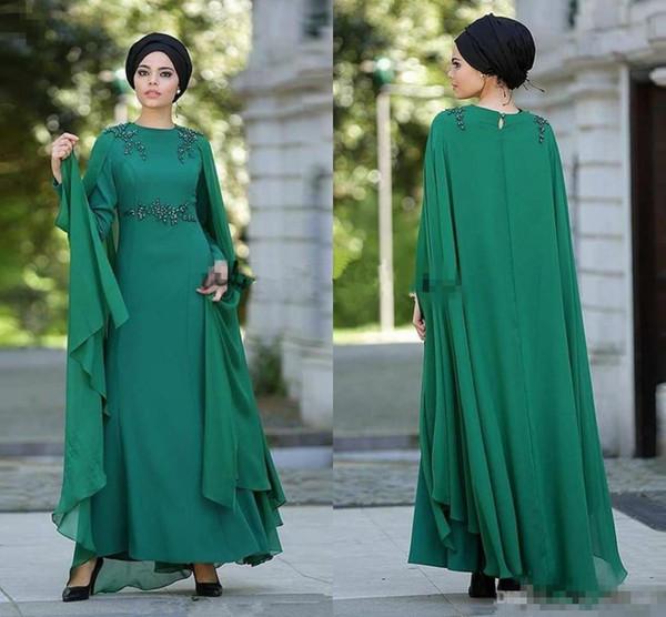 Dark Green Muslim Arabic Prom Formal Dresses with Cape Wrap 2019 Jewel Full Back Lace Beaded Long Sleeve Kaftan Iraq Occasion Evening Dress