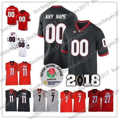Custom Georgia Bulldogs Any Name Number 2018 Rose Bowl Red Black Stitched #11 Jake Fromm 7 Stafford 27 Chubb NCAA College Football Jerseys