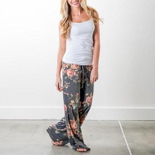 2018 yoga pants LADIES FLORAL YOGA PALAZZO TROUSERS WOMENS SUMMER WIDE LEG PANTS PLUS SIZE 6-20