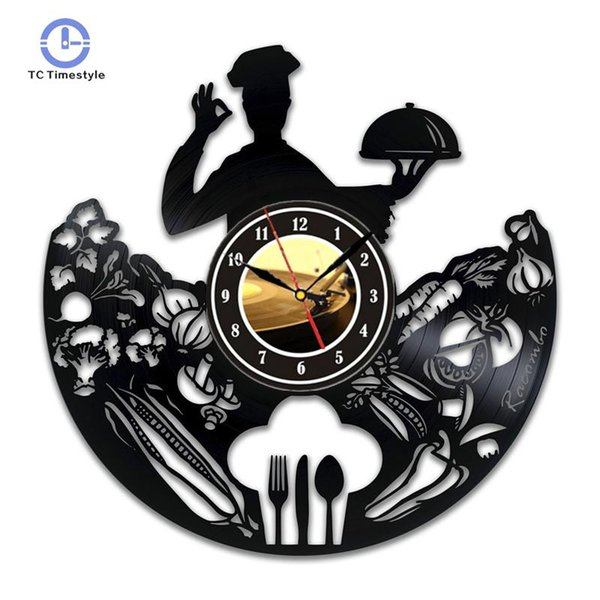 Chef Vinyle Cuisine Horloge Murale Art Décor Présente Oeuvre Sign Cadeaux Décorations Pour Hommes Décoration de La Maison Accessoires Moderne