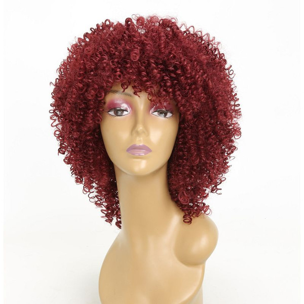 Colorful Synthetic Non Lace Wigs Machine Made for Women with Bangs Kinky Curly Short Hair High Temperature Silk 3 Colors Pink Burgundy Black