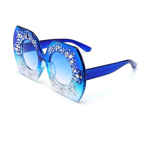 Butterfly Sunglasses For Women Europe America Fashionable Trend Diamond-mounted Big Frame Round Lens Spectacles Polygon Gafas L5