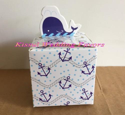 (100 Pieces/Lot) Candy box container of Dolphin shape Wedding paper box For Bridal showers and Baby birthday gift box
