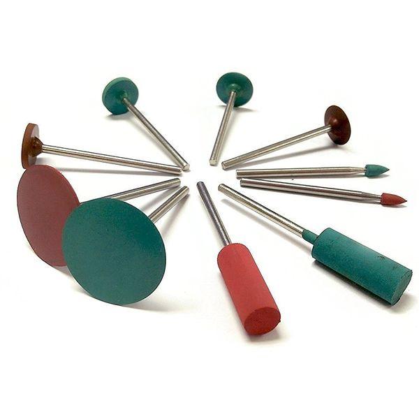 Jewelry Tool Rubber Rotary Tools Polishing Burr Dremel 10pcs Diamond-in-rubber Emery Polishing Bit Set - Fits Dremel - Metal,Glass,Stone,Til