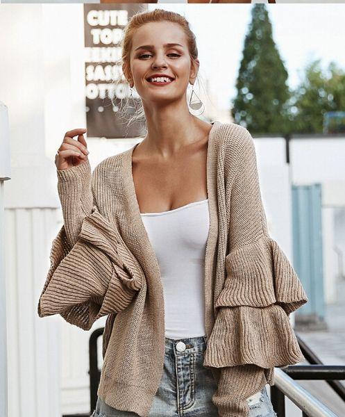 Fashion Womens Ruffle Sleeve Knitted Cardigan Lady Sweater Poncho Outwear Coat Top Casual Women Outwear Autumn Cardigan