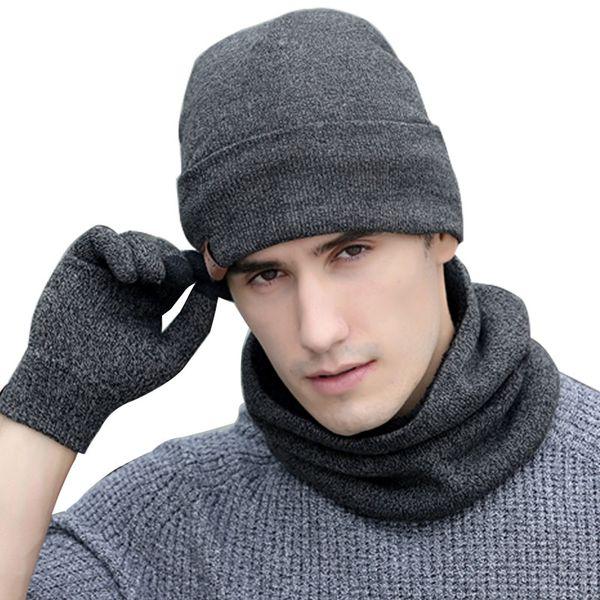 Lenço luvas chapéu conjunto mulheres homens inverno cachecol chapéu conjunto inverno e luva de tela de toque inteligente texting luvas