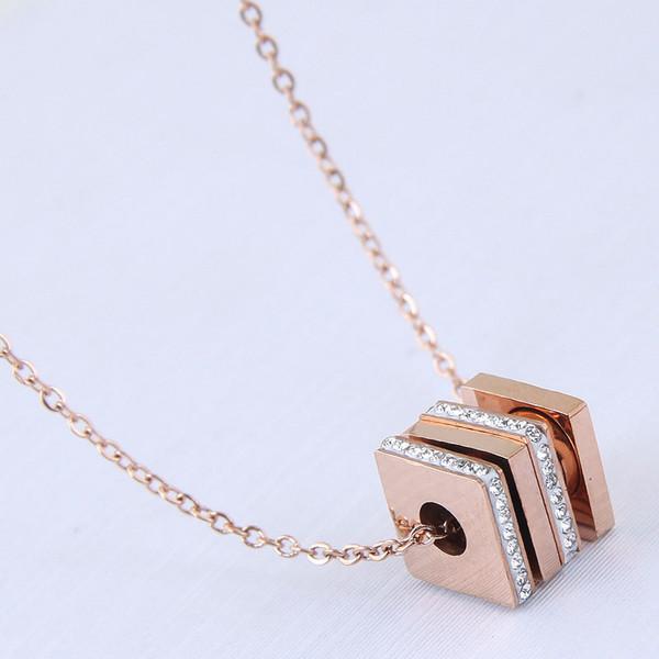 High-grade Fine Jewelry Accessories Titanium Steel Rubik's Cube Square Pendant Rose Gold Bride Wedding Chain Sweater Necklaces Women No Fade