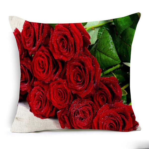 Effetto 3D Red Rose Cushion Cover Belle Rose fresche Floral Pillow Covers Home Divano decorativo Lino Pillow Case Bedroom Sofa Decor