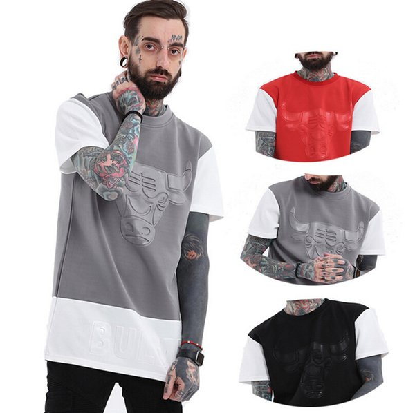men summer casual tshirts sports bull printed colors patchwork tees long loose short sleeved  clothes