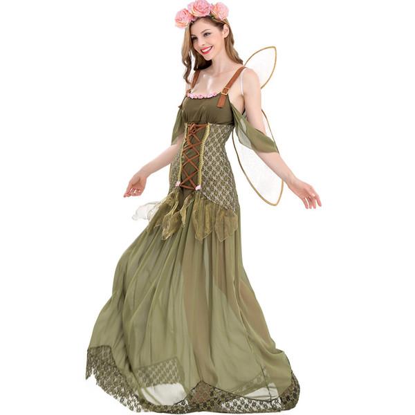 Halloween Adult Angel Elf Flower Fairy Costume Woodland Dress 2018 Nuovo design per donna