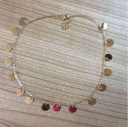 Moda oro color lentejuelas monedas borla choker collar para mujer señoras collar jewellry colares