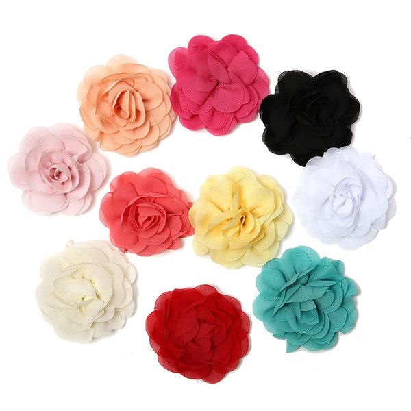 3.15'' 10 Colors Chiffon Petals Poppy Flower Rolled Rose Fabric Hair Flowers for Hair Accessories Supplies for Women Girls Lady