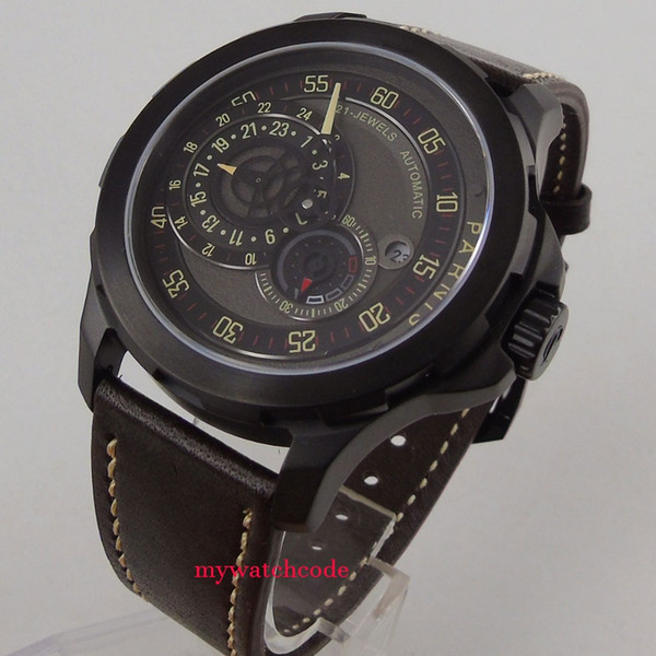 44mm black dial date window Sapphire glass miyota Automatic Mens Watch